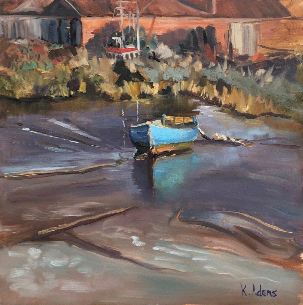 Evening light on blue boat, Brancaster Staithe