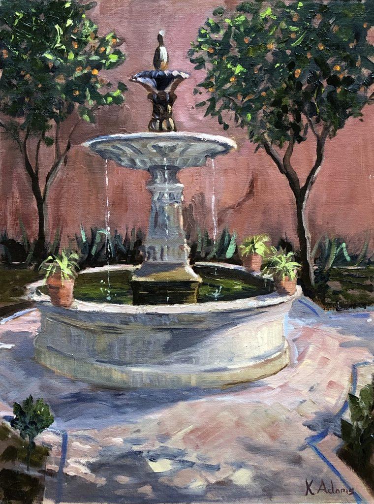 Fountain in Real Alcazar Gardens, Seville,