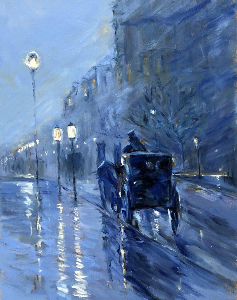 Copy of Frederick Childe Hassam's painting, 'Rainy Midnight'