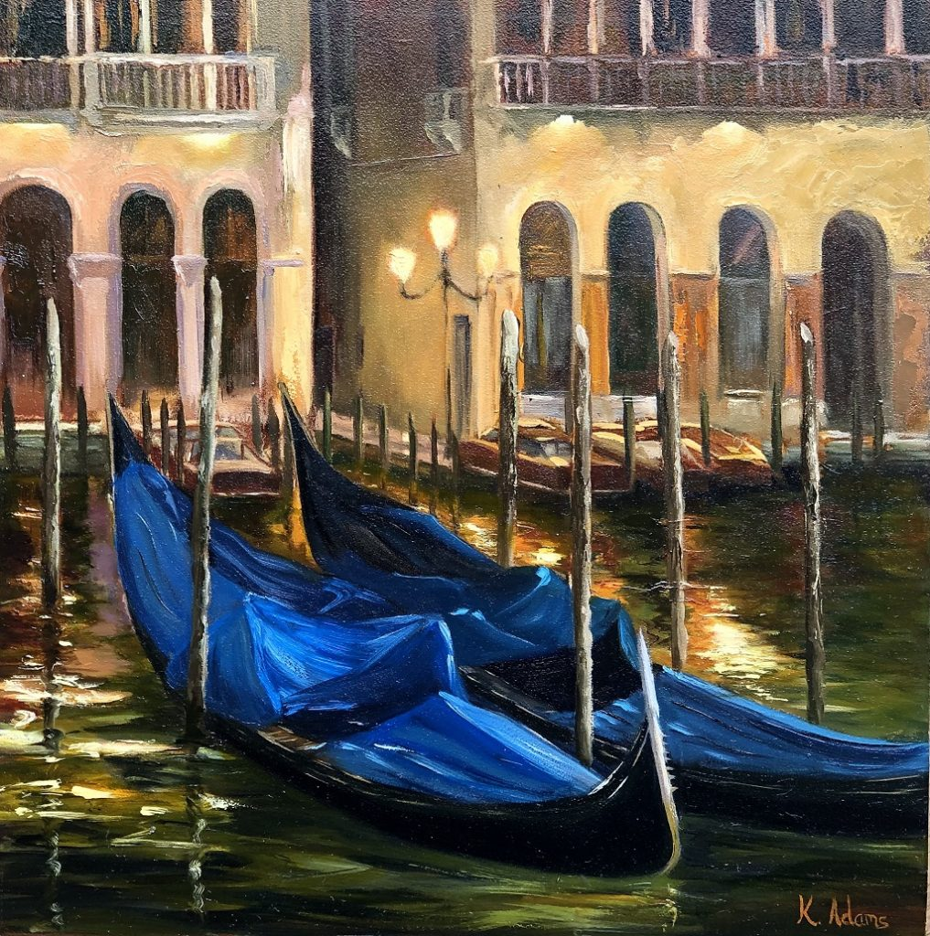 Gondolas At Night - Venice